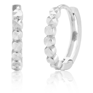 9ct White Gold Hoop 9mm Twisted Diamond Cut