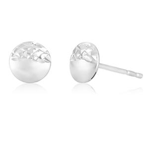 5mm White Gold Flat Ball Stud With Diamond Cut Finish