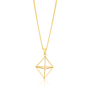3D Geometric Shaped Pendant In 9ct Yellow Gold