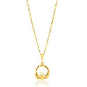 9ct Yellow Gold Diamond Cut Claddagh Pendant
