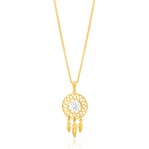 9ct Yellow Gold Feathered Dream Catcher Pendant