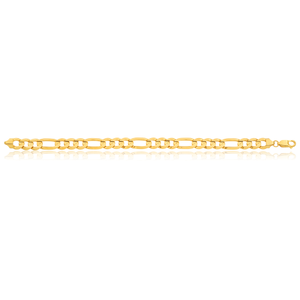 9ct Yellow Gold Figaro Bracelet 21cm
