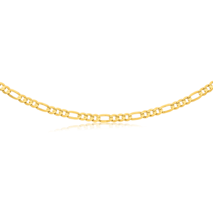 9ct Solid Yellow Gold 55cm Figaro Concave 3:1 Chain 210Gauge
