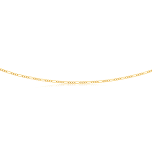 9ct Yellow Gold 3:1 Fiigaro 50cm Chain 50Gauge 9Y