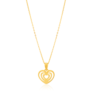 9ct Yellow Gold Heart Pendant on 42cm Chain