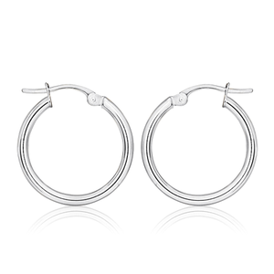 9ct White Gold Plain 40mm Hoops
