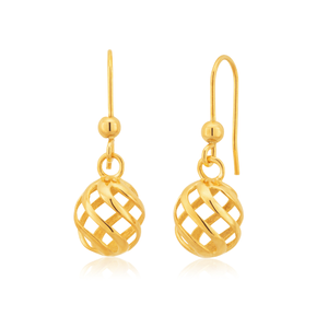 9ct Yellow Gold Spiral Ball Drop Earrings