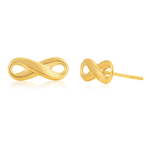 9ct Yellow Gold Infinity Studs