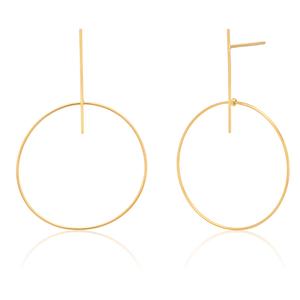9ct Yellow Gold Bar Stud Hoop Earrings