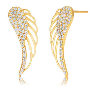 9ct Yellow Gold Cubic Zirconia Wings Shaped Stud Earrings