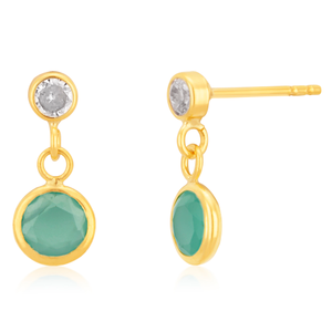 9ct Yellow Gold Cubic Zirconia and Blue Crystal Drop Earrings
