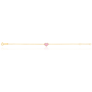 9ct Yellow Gold Pink Cubic Zirconia Heart Charm attached on 17cm Trace Link Bracelet