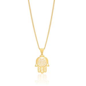 9ct Yellow Gold Hamsa Hand Pendant