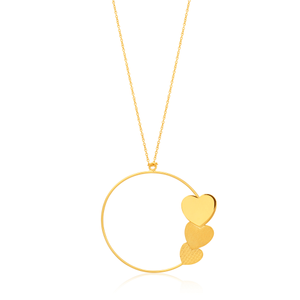 9ct Yellow Gold Open Circle with Three Attached Hearts Pendant on 72cm Chain