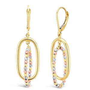 9ct Three-Tone Gold Fancy Diamond Cut Beaded Layered Drop Earrings