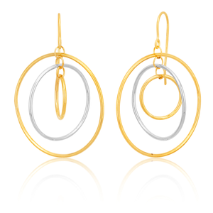 9ct Two-Tone Gold 3x Circle Hook Drop Earrings