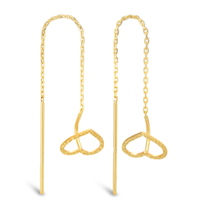 9ct Yellow Gold Heart Threader Earrings