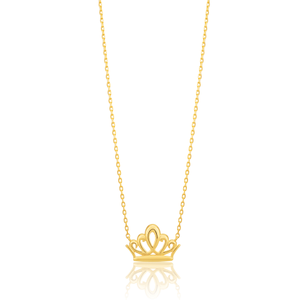 9ct Yellow Gold Crown attached on 43cm Trace Link Chain