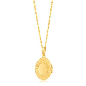 9ct Yellow Gold Greek Key Pattern Oval Locket