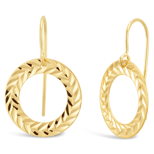 9ct Yellow Gold Round Circle Earrings