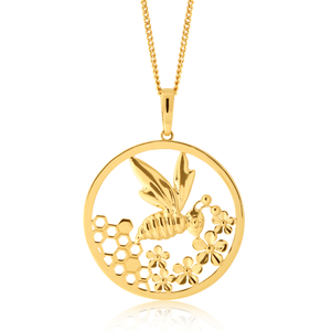 9ct Gold Bee Hoop Pendant