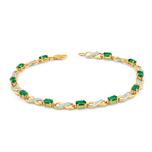 9ct Yellow Gold Created Emerald + Diamond Bracelet