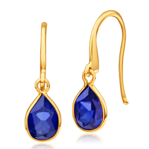 9ct Alluring Yellow Gold Created Sapphire Drop Earrings