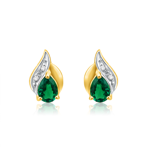 9ct Alluring Yellow Gold Created Emerald + Diamond Stud Earrings