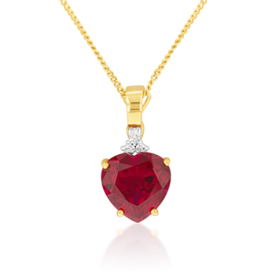 Ruby pendants shop ruby pendants online shiels jewellers 9ct superb yellow gold created ruby diamond heart pendant mozeypictures Image collections