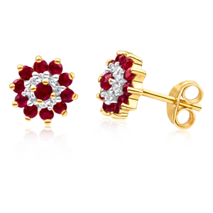 9ct Yellow Gold Diamond + Ruby Stud Earrings