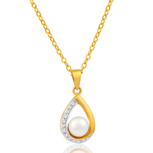 9ct Charming Yellow Gold Diamond + Pearl Pendant
