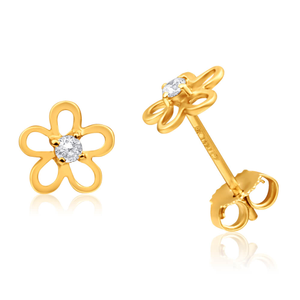9ct Yellow Gold Cubic Zirconia Flower Stud Earrings