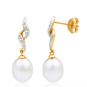 9ct Dazzling Yellow Gold Diamond + Pearl Drop Earrings