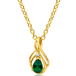 9ct Yellow Gold Diamond + Emerald Pendant