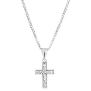 9ct White Gold Delightful Cubic Zirconia Cross Pendant