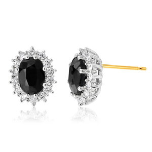 9ct Yellow Gold 7x5mm Oval Cut Natural Sapphire and 0.42 Carat Diamond Stud Earrings