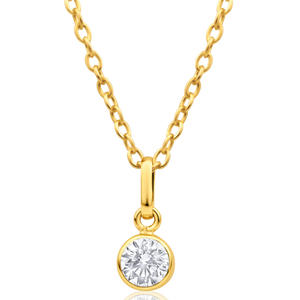 9ct Yellow Gold Cubic Round Zirconia 5mm Pendant