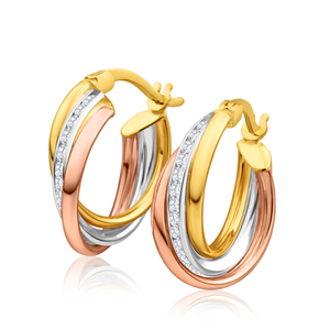 9ct Yellow Gold, White Gold & Rose Gold Zirconia Hoop Earrings