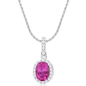 9ct Beautiful White Gold Diamond + Natural Pink Sapphire Pendant With 45cm Chain