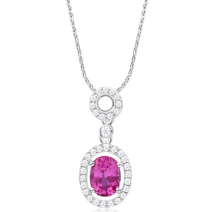 9ct Magnificent White Gold Diamond + Natural Pink Sapphire Pendant With 45cm Chain