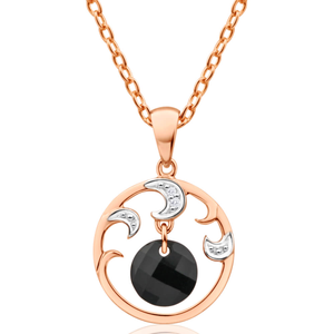 9ct Rose Gold Diamond + Onyx Fancy Circle Pendant