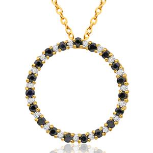 9ct Yellow Gold Diamond + Natural Black Sapphire Pendant
