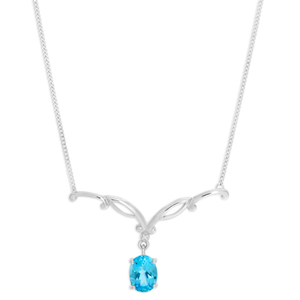 9ct White Gold Blue Topaz + Diamond 46cm Necklet