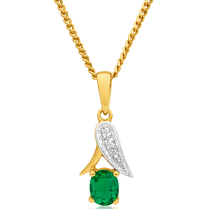 9ct Alluring Yellow Gold Created Emerald + Diamond Pendant