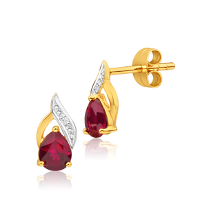 9ct Superb Yellow Gold Created Ruby + Diamond Stud Earrings
