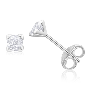9ct White Gold 3mm Princess Cut Cubic Zirconia Stud Earrings