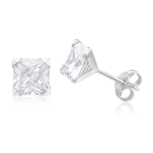 9ct White Gold Radiant Cubic Zirconia Stud Earrings