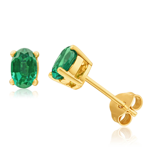 9ct Alluring Yellow Gold Created Emerald 6x4mm Stud Earrings