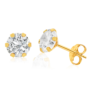 9ct Yellow Gold Cubic Zirconia 6mm Princess Cut Stud Earrings