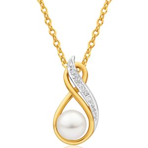 9ct Yellow Gold Diamond + Pearl Pendant